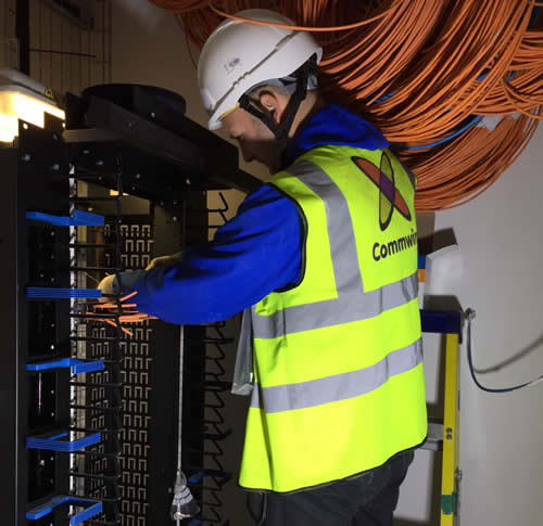 Workman working on circuits